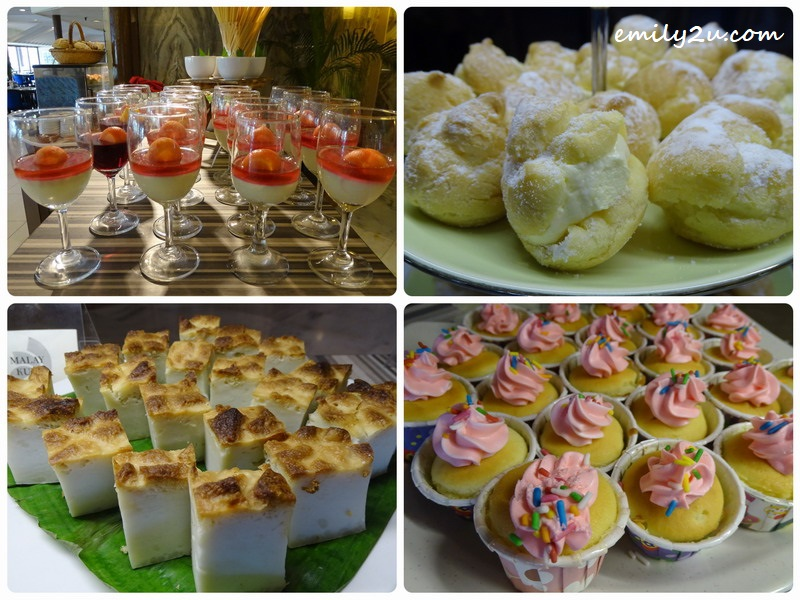 15. desserts from the action stalls (clockwise from top left): Layer Pudding, Cream Puff, Mini Cup Cakes & Malay Kuih