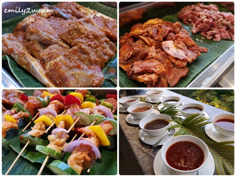 3. at the BBQ counter: marinated meat of lamb; beef and stingray (fish), skewered seafood, along with 8 types of sauces