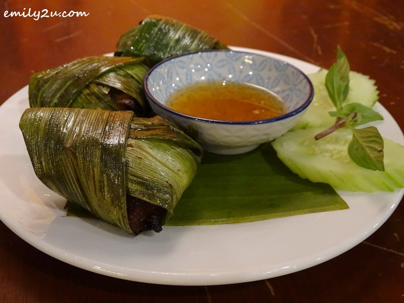 4. Gai Hor Bai Toey (Thai pandan-wrapped chicken)
