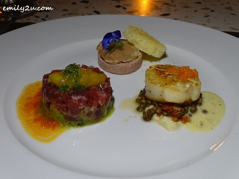 8. a trio of appetisers to begin (clockwise from L): Akami Tuna Tartare, Duck Foie Gras Pâté and  Pan-seared Scallop