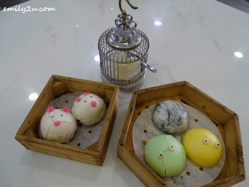 8. Cold Water Chestnut Cakes (birds in cage) from the Modern Dim Sum menu, Steamed Mixed Sweet Buns (3s) and Peppa Pig Custard Buns (2s) from the Bun Series