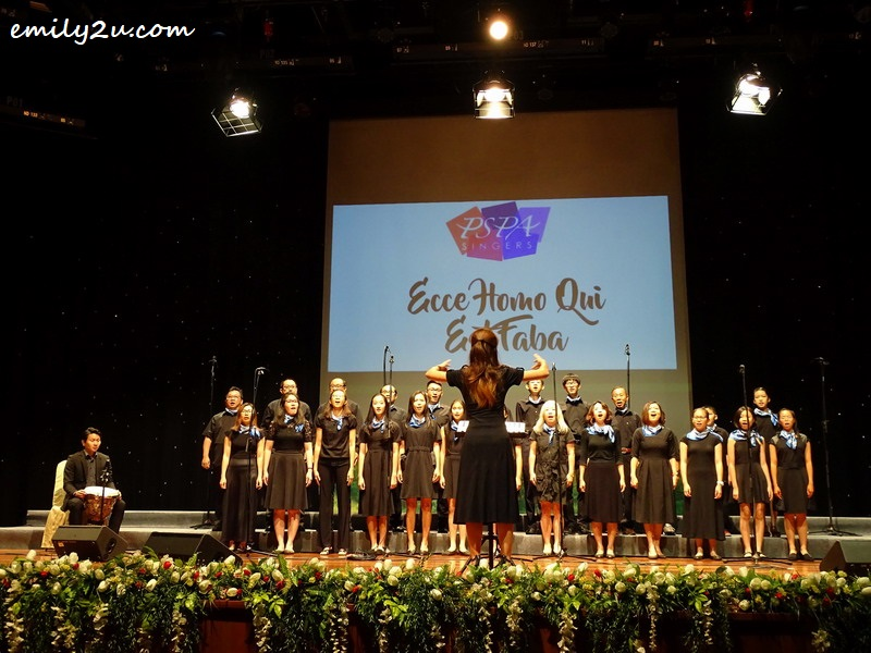 1. the PSPA Singers, led by choir leader Marianne Poh opens the Music & Laughter concert