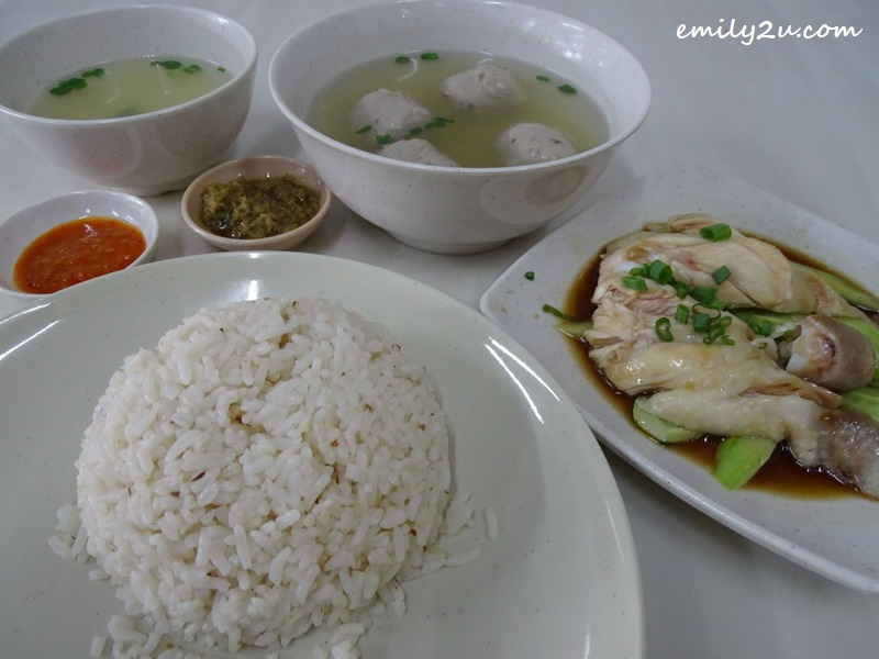 3. Chicken Rice set with garlic rice (choice of S or L) with a platter of chicken in soy sauce and bowl of soup. Meat balls are add-ons.