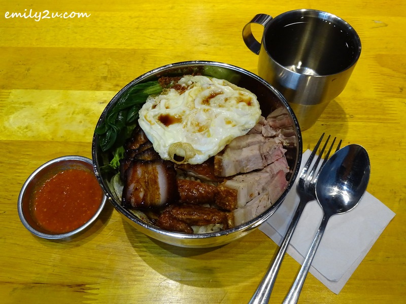 4. Iron Rice Bowl Roast Meat Rice with vegetables, egg, BBQ pork, roast pork and roast chicken