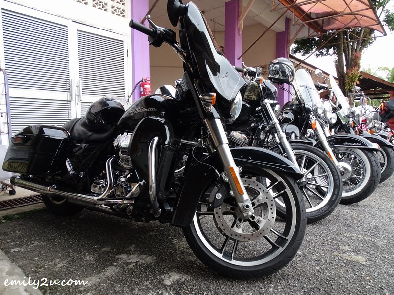7. Harleys parked at the school compound