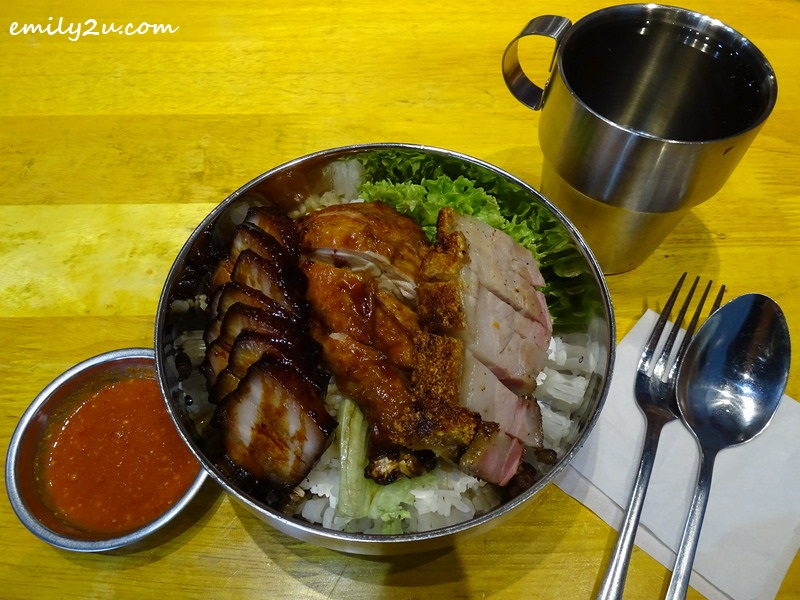 8. rice dish of char siew, roast pork and chicken drumstick