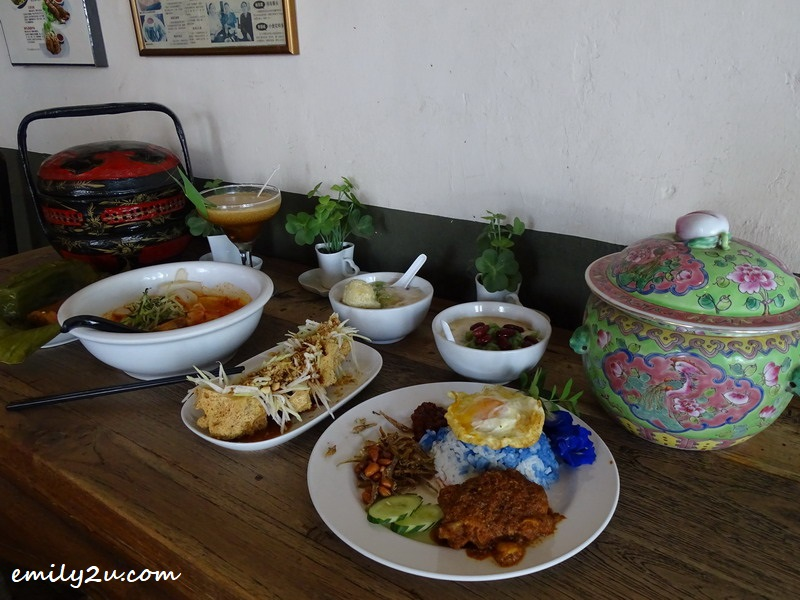 5. a lunch of kampung -style Peranakan cuisine, complemented by a fusion Peranakan coffee (far left)