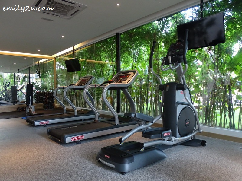 16. garden gym with floor-to-ceiling glass wall that looks out to lush greenery