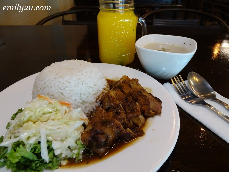 4. Chicken Chop Rice with Mushroom Sauce