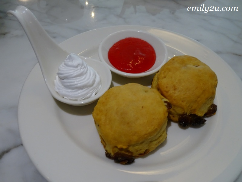 scones (plain & raisin) with strawberry jam and clotted cream
