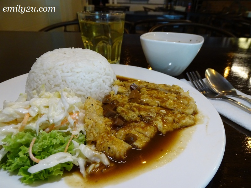 6. Fried Pork Chop Rice with Mushroom Sauce