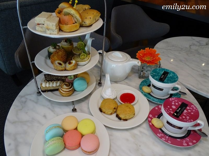 afternoon tea set with extra macarons @ Tea Lounge