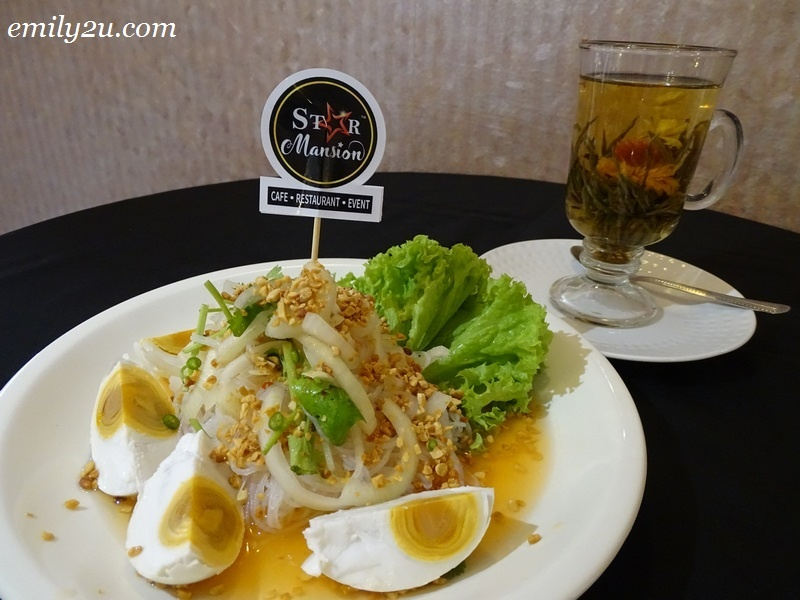 10. Glass Noodle Salted Egg along with Fancy Corbeil Blooming Flower Tea