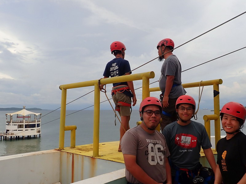 3. (L-R) Fattah, Mirul & I wait for our turn at the zipline (photo courtesy of rambleandwander.com)