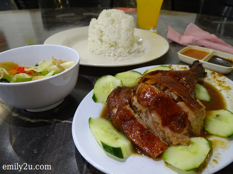 3. set lunch item of crispy roast duck + veg of the day + orange cordial + rice