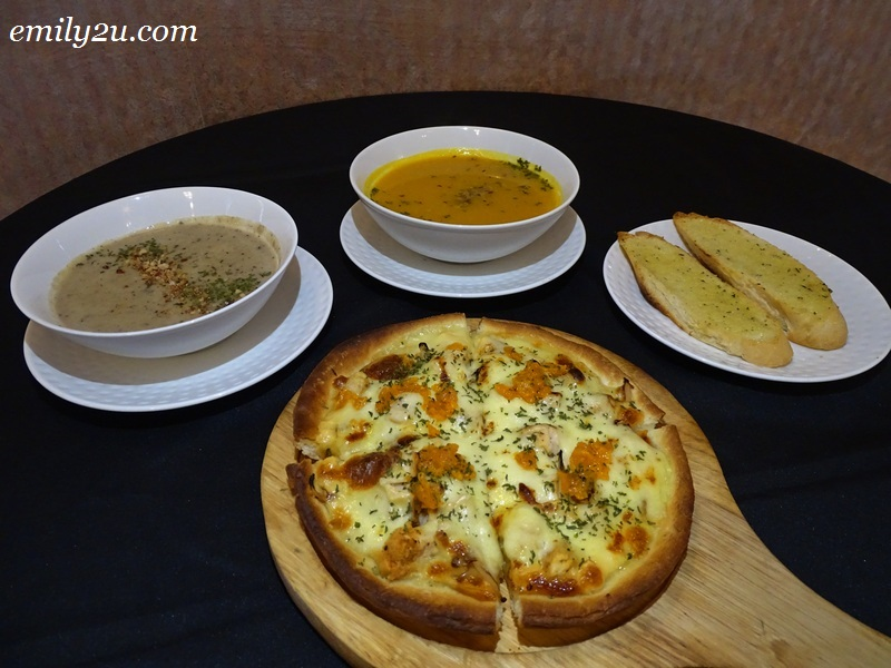 7. Salted Egg Chicken Pizza with (L-R) Wild Mushroom Soup, Almond Pumpkin Soup & Bread