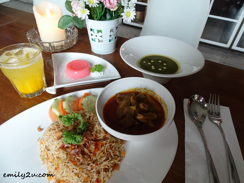 25. set lunch of nasi briyani with lamb curry, with soft drink, soup of the day and dessert of the day