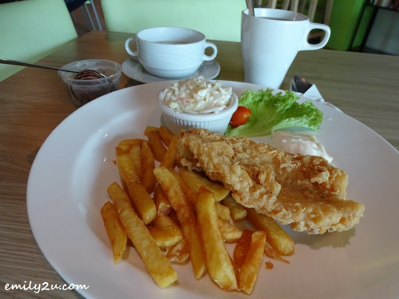 7. Crispy Fish & Chips with add on of Soup of the Day, drink and ice cream for extra RM3
