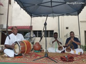 Subain Singam (L) and his friends performing at the launch of Yasmin Museum Festival