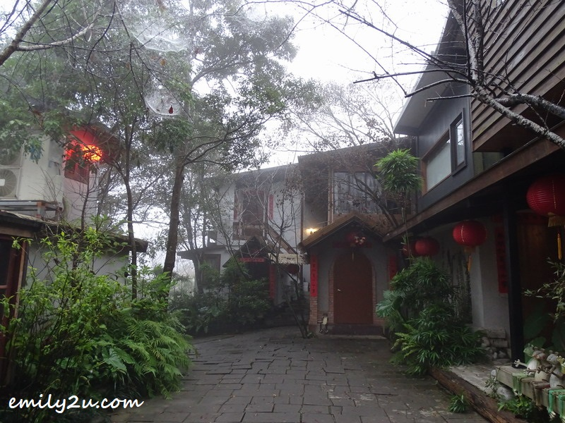 Zhou Ye Cottage shrouded in mist during wintertime
