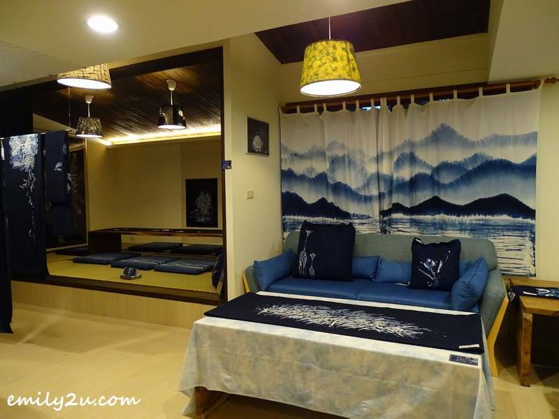 showroom with indigo dye furnishings