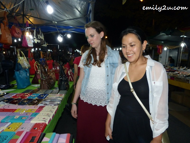 Tefa (R) & Anne (L) at the night market in Ampang, Ipoh