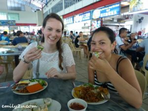 Tefa (R) & Anne (L) - trying out local food 2