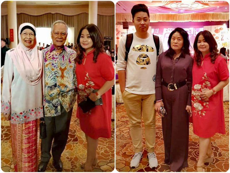 7. Syeun Hotel's Ms. Maggie Ong (in red), with loyal guests Dato' Haji Umar bin Haji Abu, the first Ipoh City Mayor and his wife (L) and with Ms Liu Li Ping, seen here with her son, from Shanghai (R).