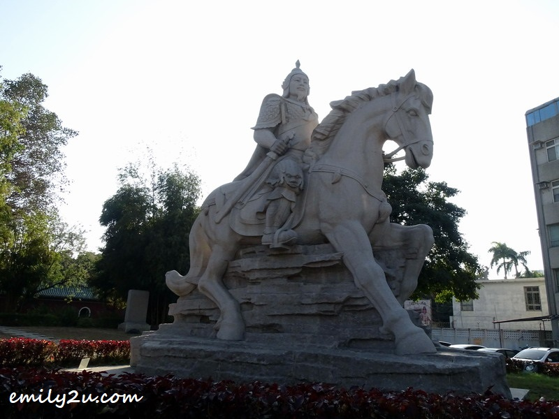 huge statue of Zheng Chenggong (Koxinga) on horseback