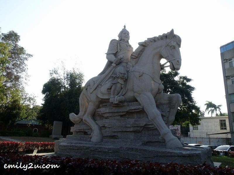 huge statue of Zheng Chenggong (Koxinga) on horseback