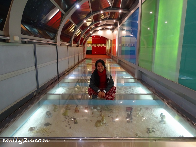 yours truly pose for a photo in the World Under the Sea, made of glass, of course