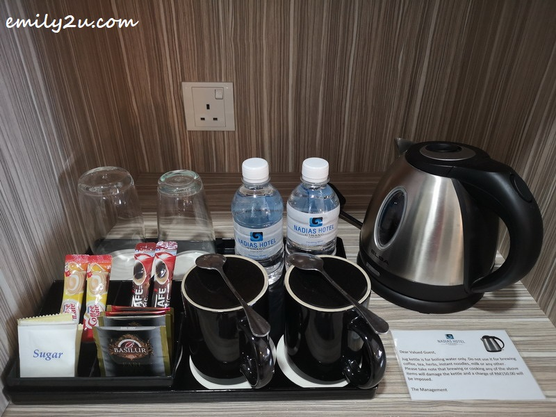 complimentary bottled water as well as coffee and tea-making facilities