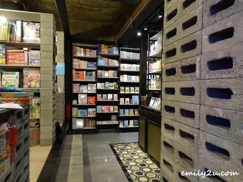 bookshelves are made from bricks