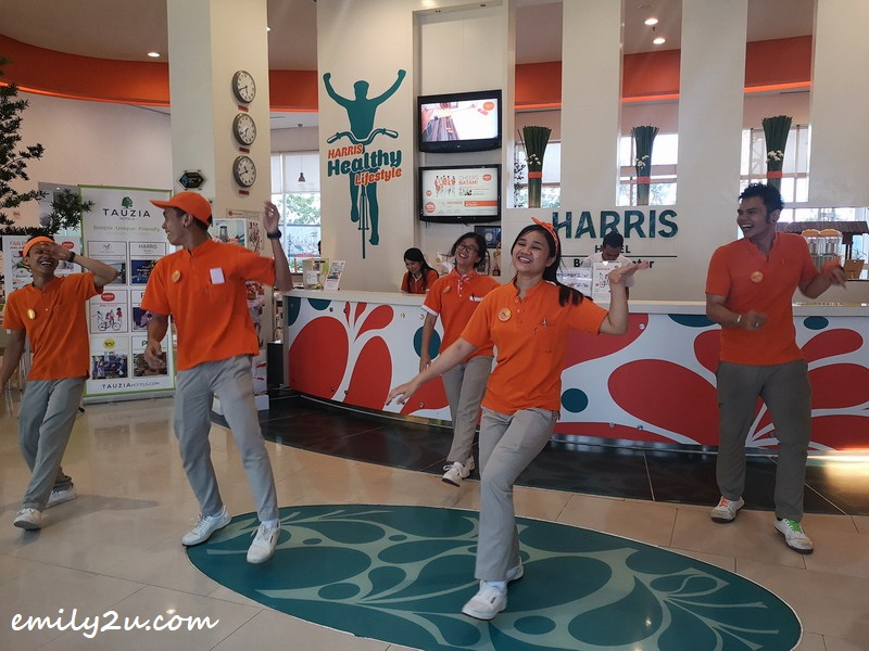welcome dance by the friendly staff of HARRIS Hotel Batam Center