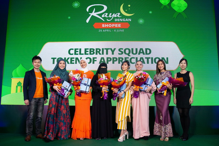(L-R): Zed Li, Head of Business, Shopee Malaysia; Irma Hasmie; Datin Hajah Fouziah Gous; Fynn Jamal;, Nana Mahazan; Nazeera Sardi; Dayang Areeda; Marianne Chuo, Marketing Lead, Shopee Malaysia