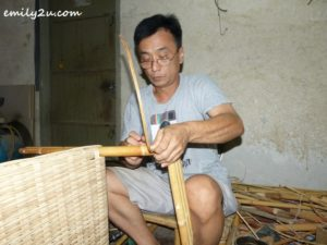 Chee tying the joints with rattan splints