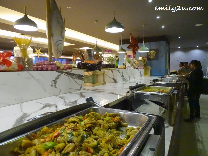 main courses on the buffet line