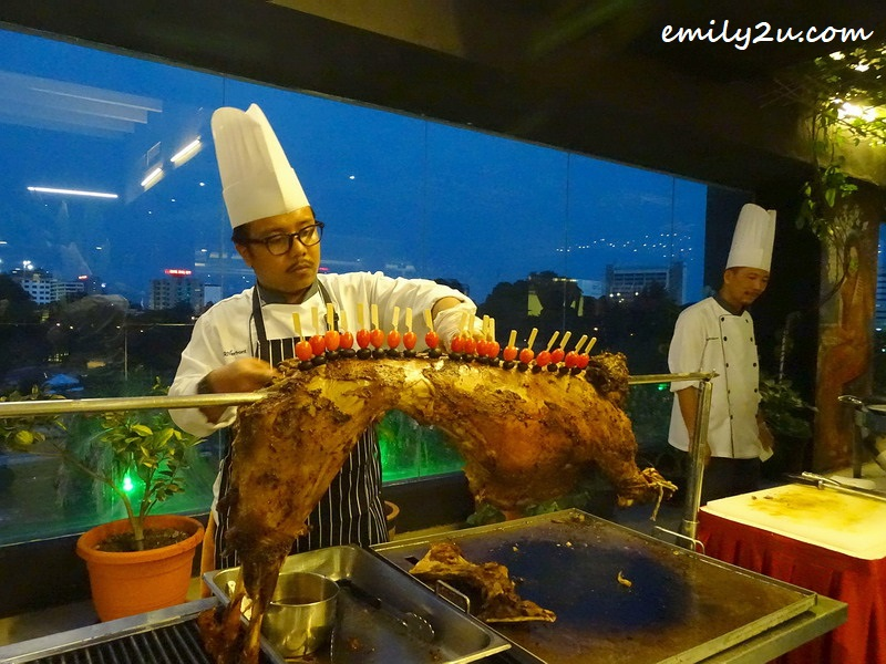 grill counter with whole lamb