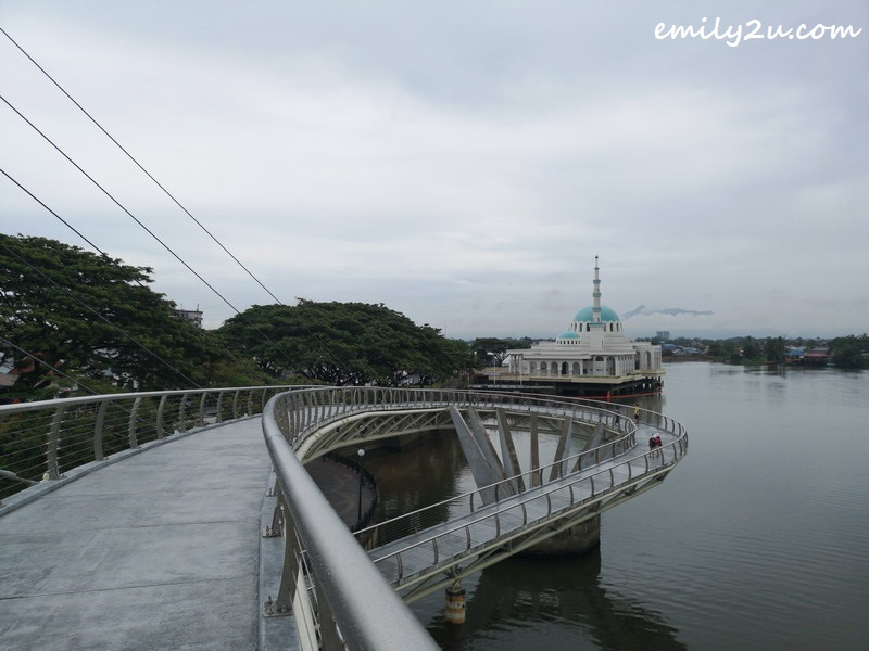 Darul Hana Bridge with the Floating Mosque as backdrop