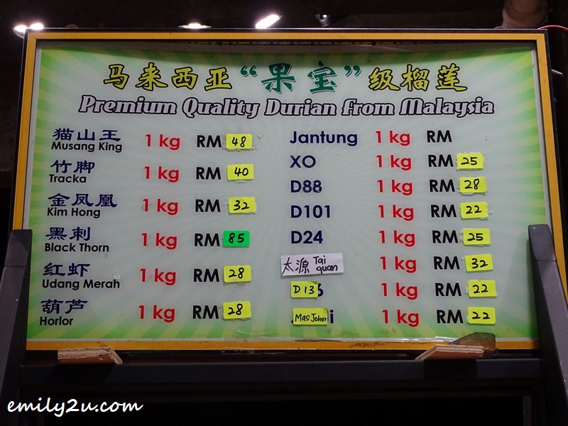 durian pricing