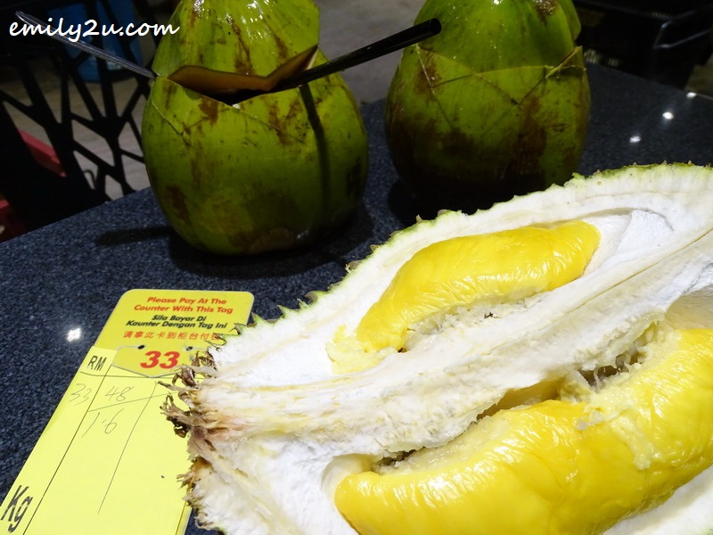 Musang King, to be washed down with fresh coconut