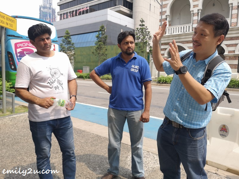 Stephen Abraham (R) gives a brief history on Kuala Lumpur to participants