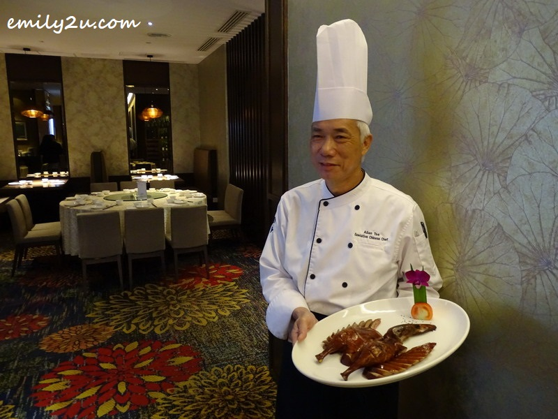Executive Chinese Chef Allan Tse presents his Signature Smoked Duck with Lychee Wood