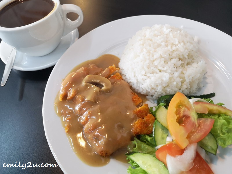 Pork Chop Rice with Mushroom Sauce