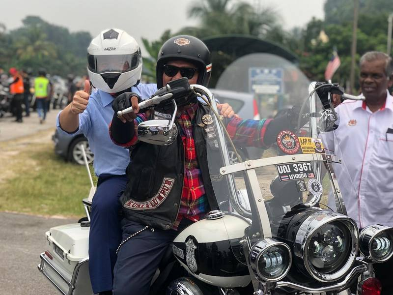 YB Tuan Nga Kor Ming as pillion rider on a Harley-Davidson (Photo credit: YB Tuan Nga)