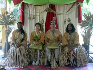 wedding ritual - writer is second from left - with guests from France and the Philippines