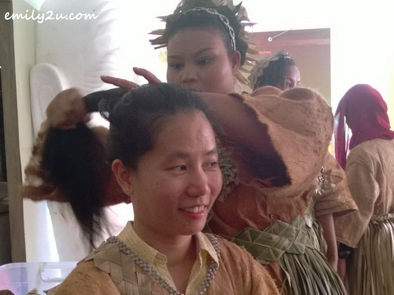 writer gets her hair done for the mock wedding