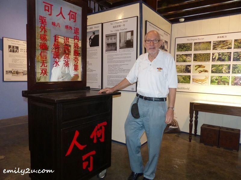 Ian with a replica of the Ho Yan Hor tea counter