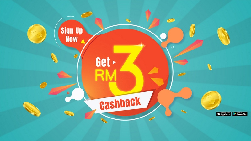 receive RM3 cashback upon signup and after accumulating RM20 confirmed cashback from purchases