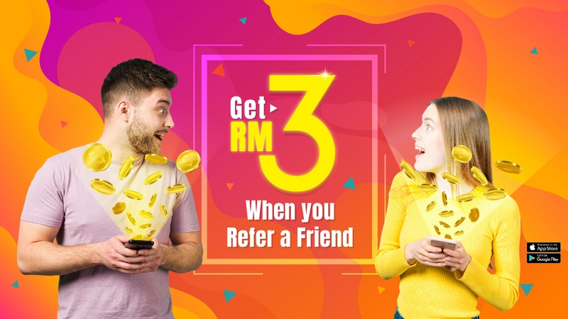 under Octaplus referral programme, receive RM3 cashback when your friend signs up and after an accumulated RM20 confirmed cashback from purchases